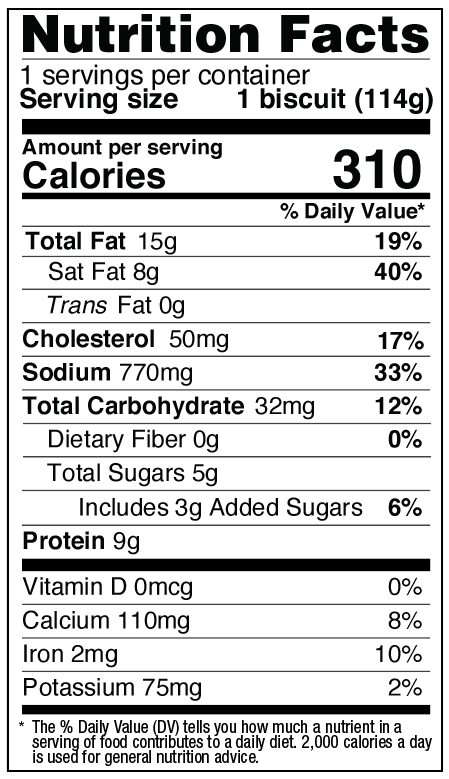 Nutrition Facts for Meat Lovers Maple Stuffed Biscuit