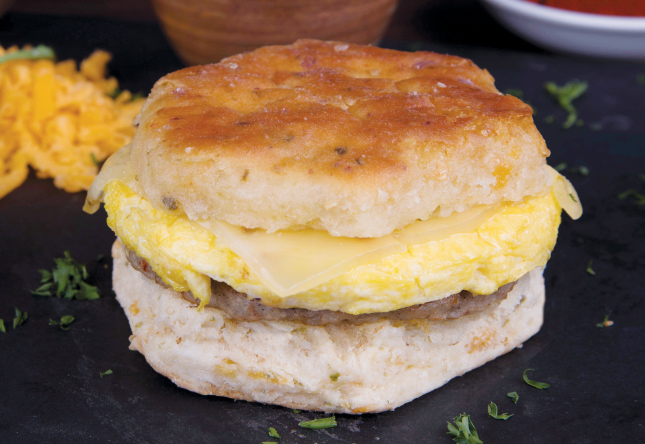 Spicy Sausage, Egg & Cheese on a Jalapeño Cheddar Biscuit - Product Shot 1