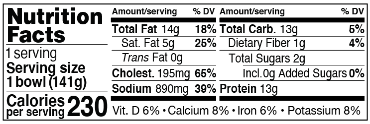 Nutrition Facts for Searin' Sriracha Breakfast Bowl