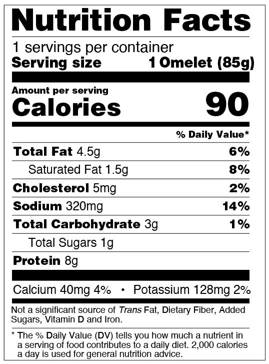 Nutrition Facts for Egg White Omelet