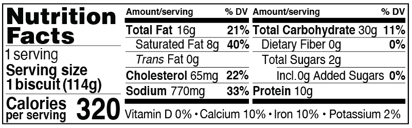 Nutrition Facts for Sausage, Egg and Cheese Stuffed Biscuit