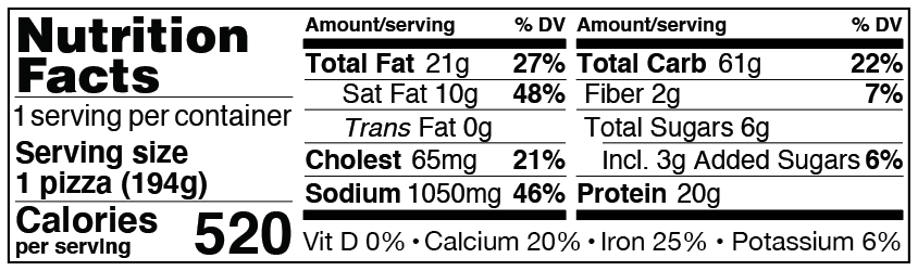 Nutrition Facts for Personal Microwavable Breakfast Pizza