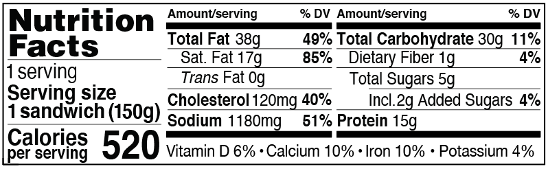 Nutrition Facts for Spicy Sausage, Egg & Cheese on a Jalapeño Cheddar Biscuit